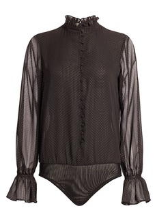 Scripted Dotted Chiffon Long-Sleeve Bodysuit