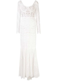 Jonathan Simkhai embroidered long-sleeve gown