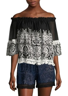 Jonathan Simkhai Embroidered Off-The-Shoulder Top