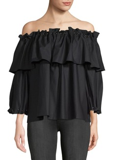 Jonathan Simkhai Faux Pearl Off-the-Shoulder Cotton Top