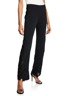 Jonathan Simkhai Floral Applique High-Waist Pants