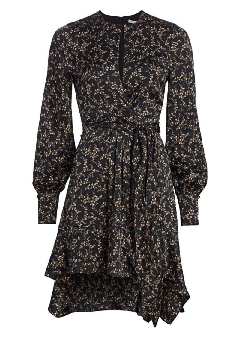 Jonathan Simkhai Floral Keyhole Silk Blend Dress