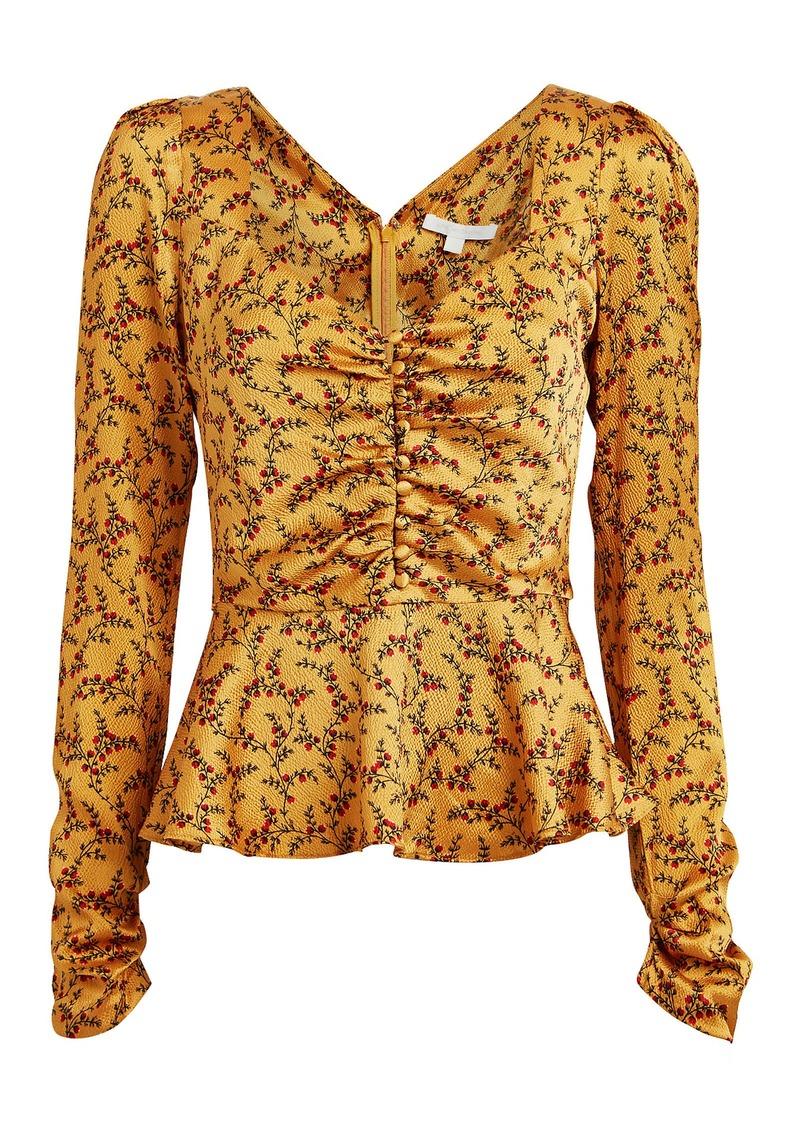 Jonathan Simkhai Floral Silk Peplum Blouse