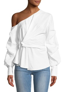 Jonathan Simkhai Gathered One-Shoulder Oxford Top