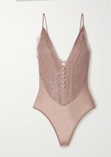 Jonathan Simkhai Gemma Satin-trimmed Stretch-mesh And Lace Thong Bodysuit