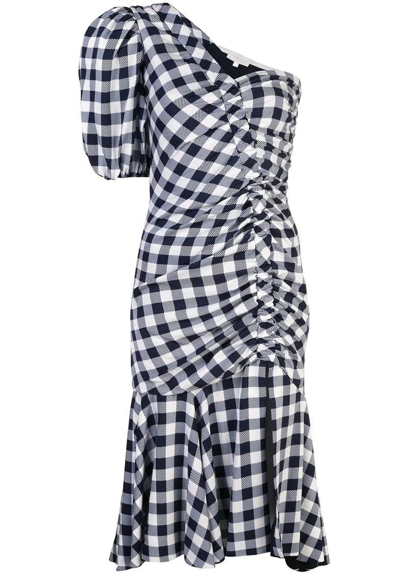 Jonathan Simkhai gingham asymmetric gathered dress