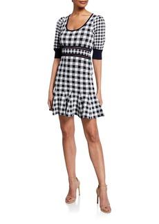 Jonathan Simkhai Gingham Knit Puff-Sleeve Mini Dress