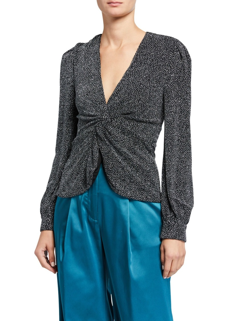 Jonathan Simkhai Glitter Jersey Long-Sleeve Twist-Front Top