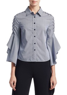 Jonathan Simkhai Grommet Whip Stitch Cotton Button-Down Shirt