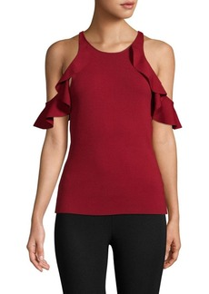 Jonathan Simkhai Hanging Ruffle Racer Cold-Shoulder Top
