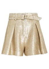 Jonathan Simkhai High-Rise Tailored Sequin Shorts