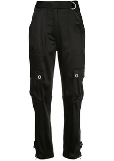 Jonathan Simkhai high-waisted satin cargo trousers