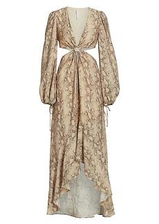 Jonathan Simkhai Jaelynn Snake-Print Cut-Out Puff-Sleeve Dress