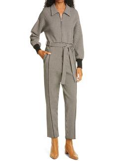 Jonathan Simkhai Annabelle Houndstooth Check Long Sleeve Knit Jumpsuit