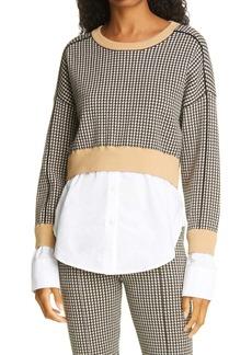 Jonathan Simkhai Ashley Mixed Media Layered Look Sweater