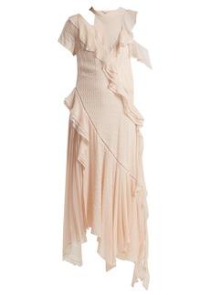 Jonathan Simkhai Asymmetric ruffled cut-out silk-blend dress