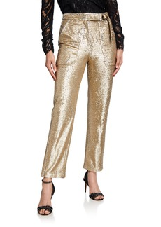 Jonathan Simkhai Belted Sequined Straight-Leg Pants