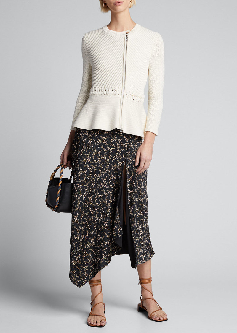 Jonathan Simkhai Braided Cotton Zip-Front Peplum Jacket
