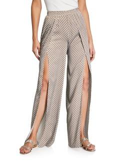 Jonathan Simkhai Chain-Print Split Wide-Leg Pants
