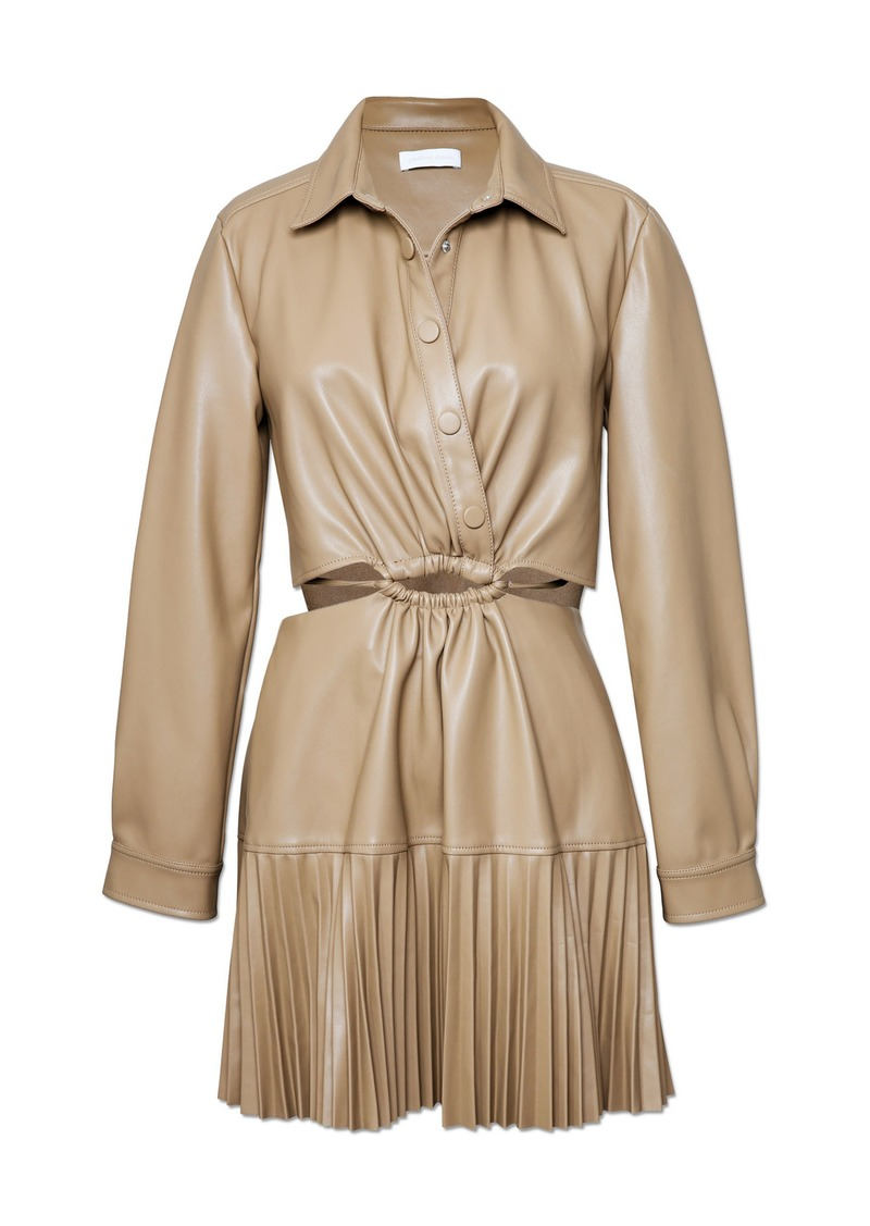 Jonathan Simkhai Cindy Pleated Vegan Leather Mini Dress