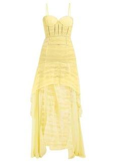 Jonathan Simkhai Contrast-panel lace and chiffon gown
