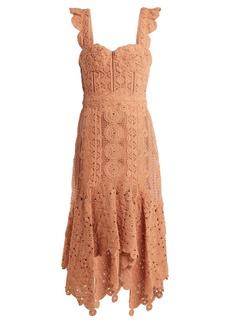 Jonathan Simkhai Cotton-macramé lace handkerchief-hem dress