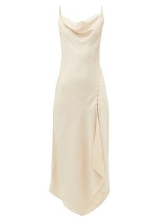 Jonathan Simkhai Cowl-neck charmeuse slip dress