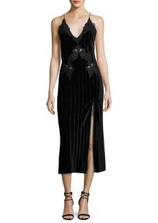 Jonathan Simkhai Crinkled Velvet Applique Deep V Midi Dress