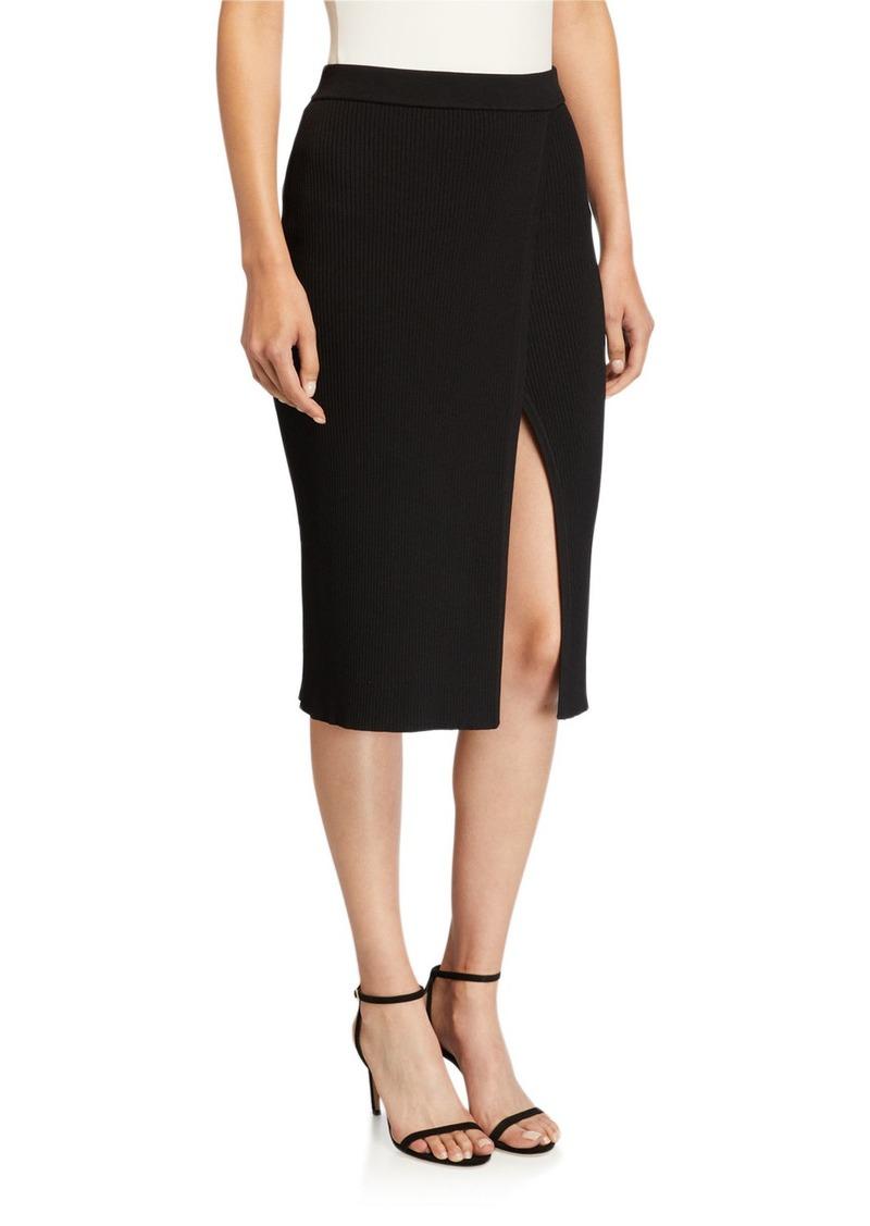 Jonathan Simkhai Deep Rib Wrap Skirt with Slit