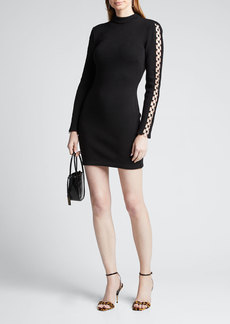 Jonathan Simkhai Directional Rib Long-Sleeve Mini Dress w/ O-Rings