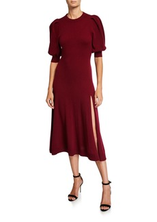 Jonathan Simkhai Draped-Back Cashmere Front-Slit Midi Dress