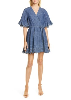 Jonathan Simkhai Eyelet Denim Wrap Dress