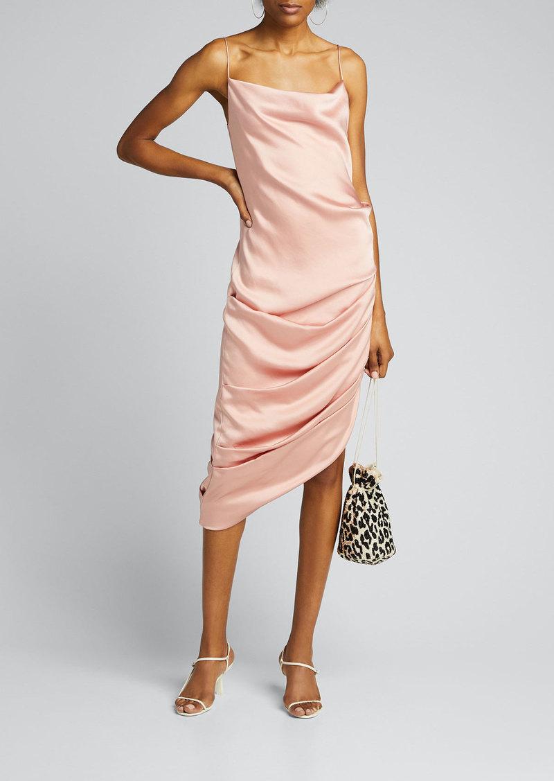 Jonathan Simkhai Fluid Satin Cowl-Neck Draped Dress