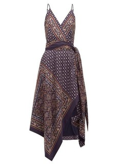 Jonathan Simkhai Geometric-print satin-twill wrap dress