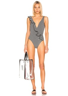 JONATHAN SIMKHAI Gingham Asymmetrical Swimsuit