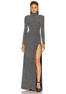 JONATHAN SIMKHAI Glitter Jersey Draped Front Gown