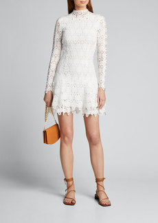Jonathan Simkhai Guipure Lace Long-Sleeve Mini Dress