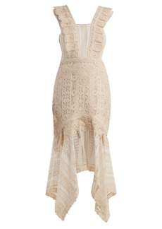 Jonathan Simkhai Handkerchief-hem cotton macramé-lace dress