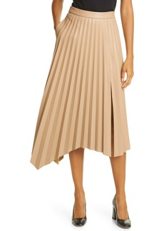 Jonathan Simkhai Jayla Pleated Asymmetrical Faux Leather Skirt