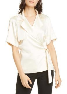 Jonathan Simkhai Kelsey Satin Wrap Shirt