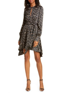Jonathan Simkhai Keyhole Long Sleeve Stretch Silk Minidress