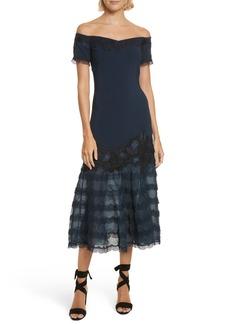 Jonathan Simkhai Lace Appliqué Crepe Off the Shoulder Trumpet Dress