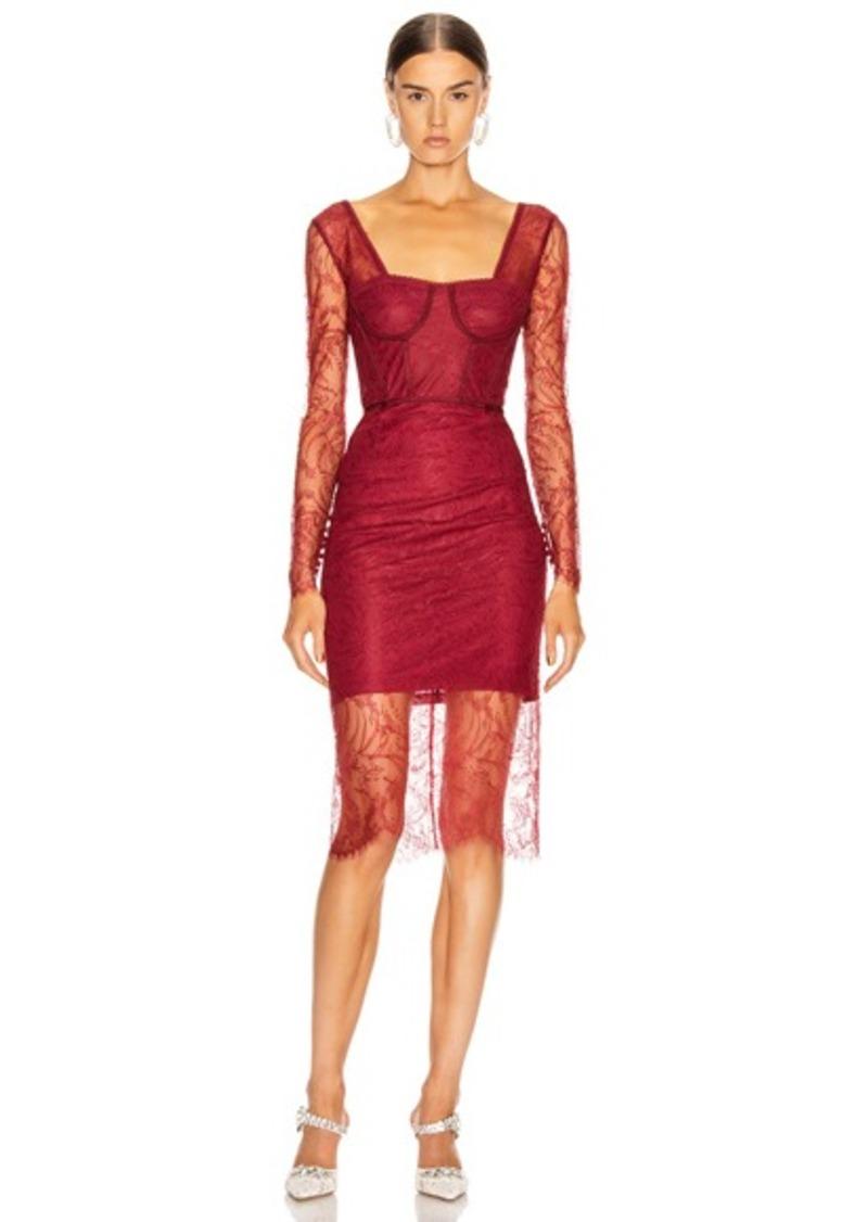 JONATHAN SIMKHAI Lace Bustier Bodysuit Dress