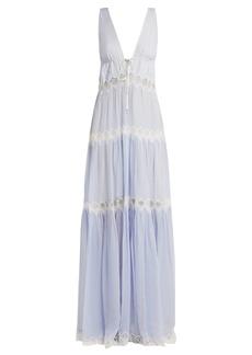 Jonathan Simkhai Lace-embellished silk maxi dress