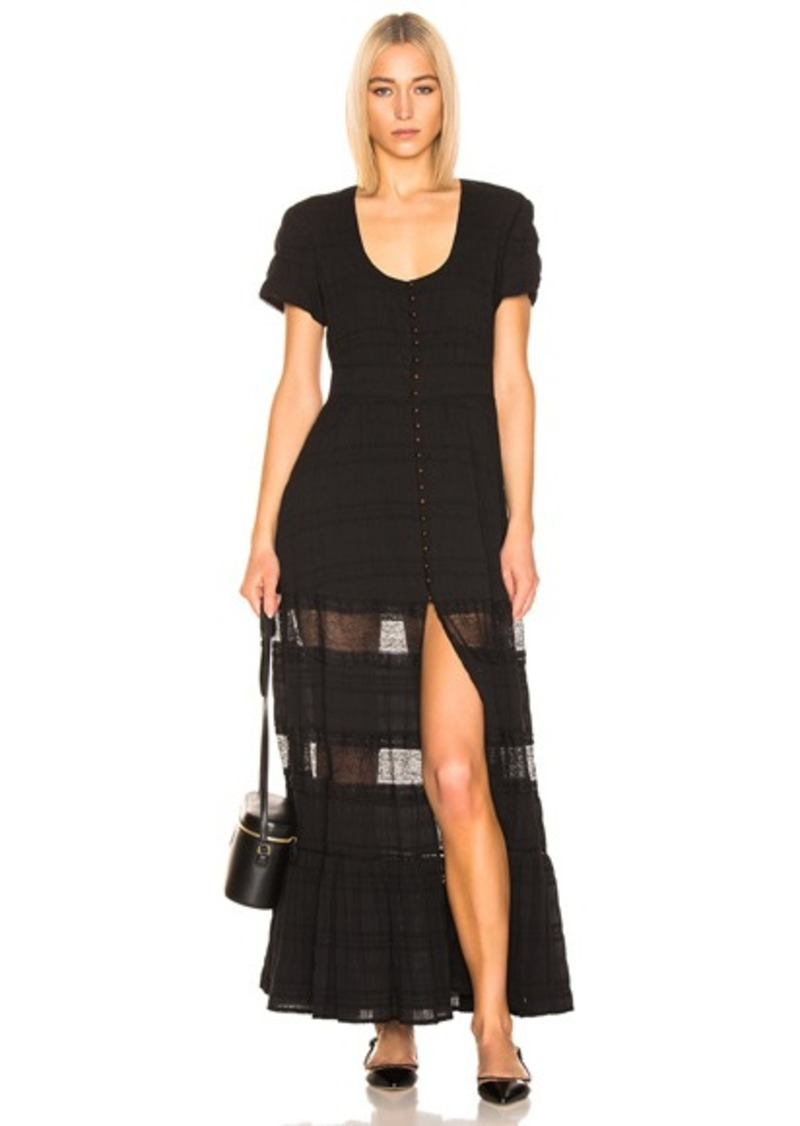 JONATHAN SIMKHAI Lace Front Slit Maxi Dress