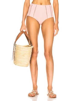 JONATHAN SIMKHAI Lace Insert High Waisted Bikini Bottom