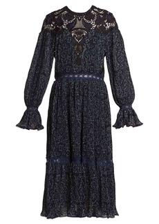 Jonathan Simkhai Lace-insert paisley-print pleated dress
