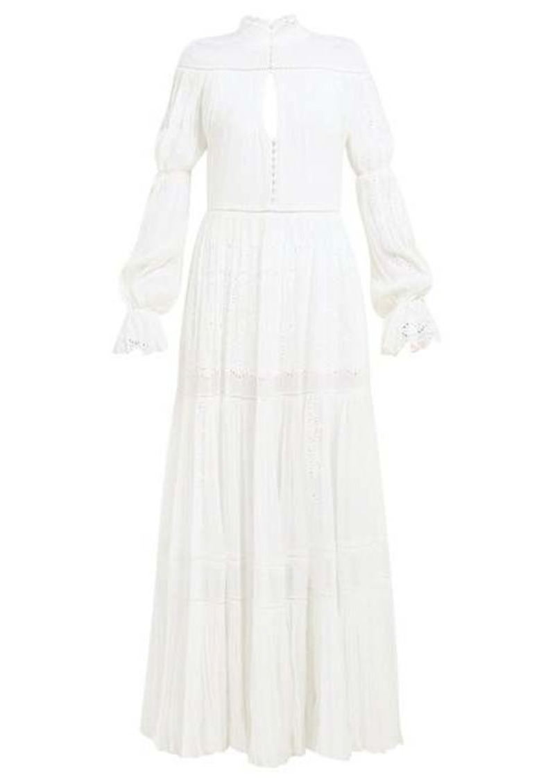 Jonathan Simkhai Lace-panel silk-chiffon dress