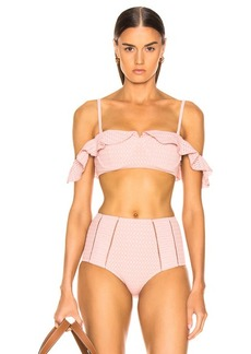 JONATHAN SIMKHAI Lace Ruffle Cold Shoulder Bikini Top