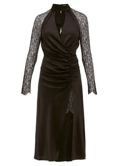 Jonathan Simkhai Lace-sleeve ruched-front silk-blend dress